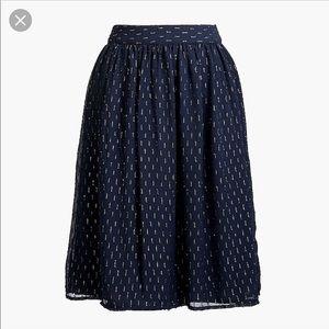 J.CREW navy and gold thread midi skirt size 2